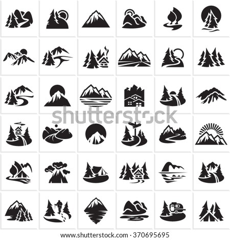 mountain icons set  hills