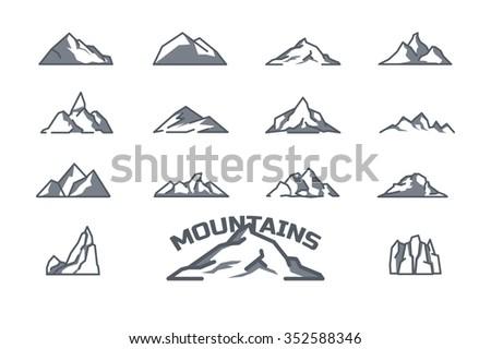 mountain icons set line art