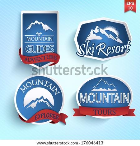 mountain icons set mountain