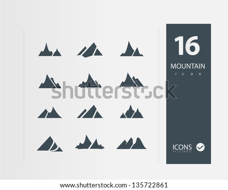 Mountain icons (Set of 16 Quality icons)