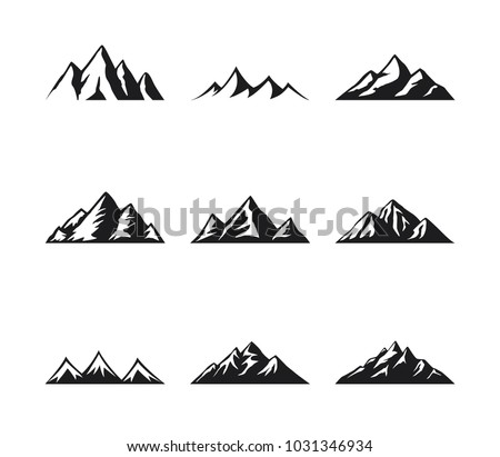mountain icons set on a white