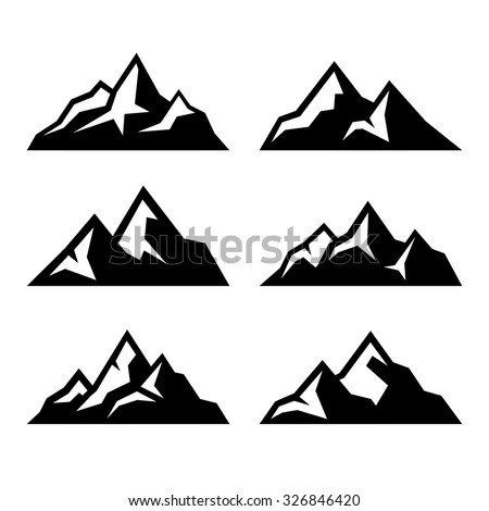 mountain icons set on white