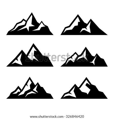 mountain icons set on white
