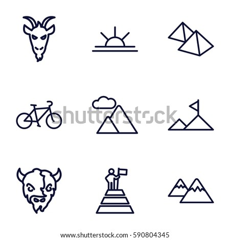 mountain icons set set of 9