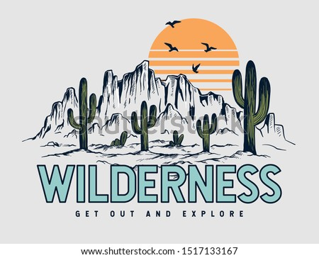 Mountain illustration, outdoor adventure . Vector graphic for t shirt and other uses. Foto stock ©