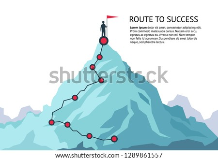 Mountain journey path. Route challenge infographic career top goal growth plan journey to success. Business climbing vector concept