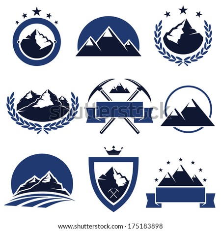 mountain labels and icons set