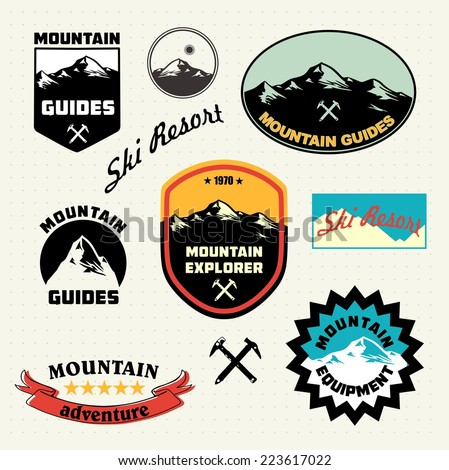 mountain labels set mountain