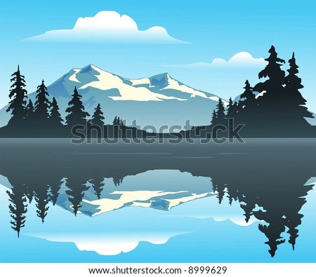 Mountain Lake - An outdoor scene overlooking a calm cool lake with trees and mountains in the distance.