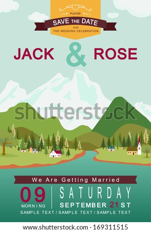 Mountain lake and village wedding invitation card template vector/illustration  - stock vector