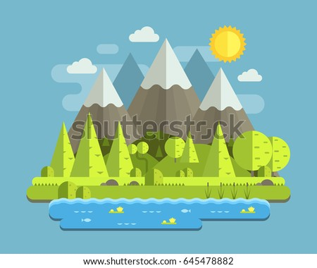 Mountain lake forest landscape with peaks, wood and hills by summer day. Abstract nature scenery vector illustration in flat design. National mountain park in the Alps wilderness background.