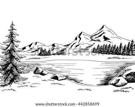 Mountain lake graphic art black white landscape illustration vector