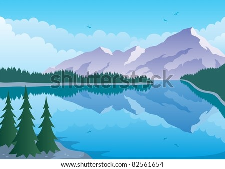 Mountain Lake: Illustrated landscape of ? mountain and lake. No transparency used. Basic (linear) gradients. A4 proportions.