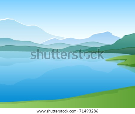 mountain lake vector landscape