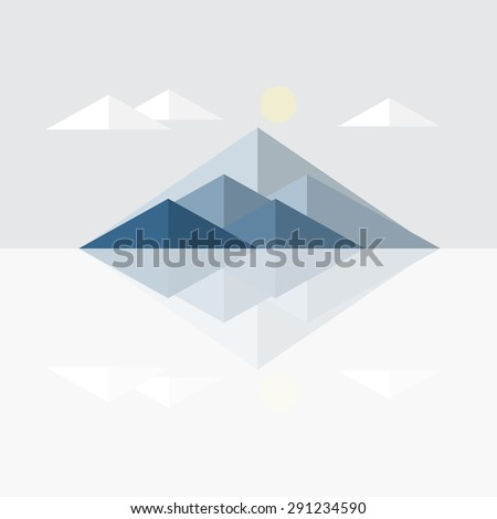 mountain landscape and cloud sun in winter, vector illustration