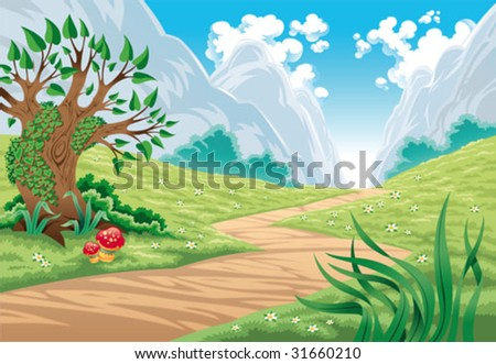 Mountain landscape. Cartoon and vector illustration, isolated objects - stock vector