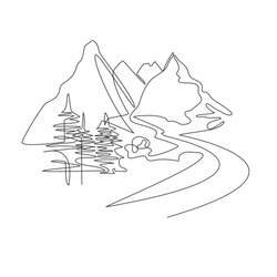 Mountain landscape drawn in one line. Continuous line Travel concept. Minimalistic graphics. Mountains and spruce.