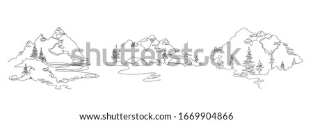 Mountain landscape, drawn in one line. Continuous line. Travels. Minimalistic graphics. Mountains and spruce. Set of illustrations.