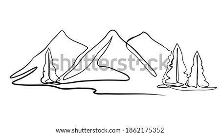 mountain landscape drawn in one