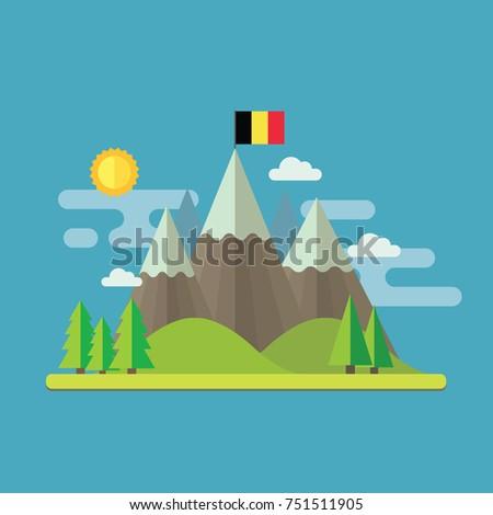 mountain landscape flat design