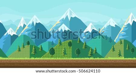 mountain landscape flat style