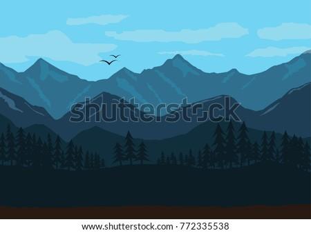 mountain landscape illustration ...