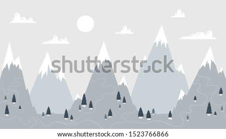 mountain landscape in a trendy