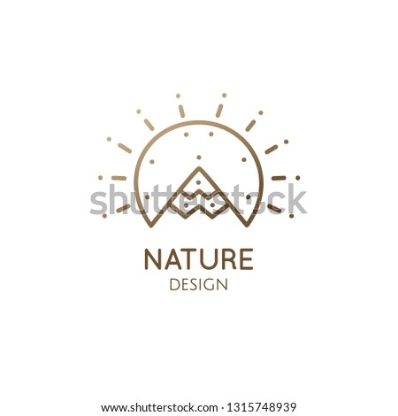 Mountain landscape logo template with sun. Round linear icon in linear style. Vector simple emblem, badge for a travel, alternative medicine, ecology concept, spa, health, yoga Center