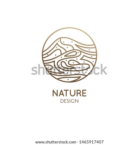 Mountain landscape logo with water. Abstract wavy lines icon. Vector linear illustration. Minimal simple decor emblem for business emblem, badge for a travel, tourism, ecology concept, health, yoga