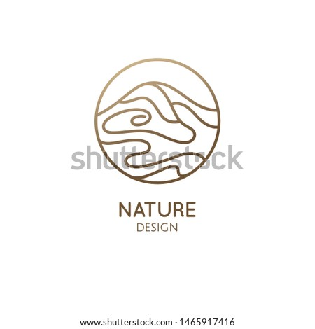 Mountain landscape logo with water. Abstract wavy lines icon. Vector linear illustration. Minimal simple emblem for business emblem, badge for a travel, tourism, ecology concept, health, massage, yoga