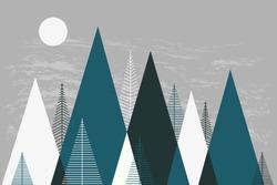 Mountain landscape, mountainscape, mountain mural, winter mountains, Christmas card, children's room decor, scandinavian wallpapers