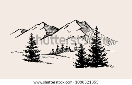mountain landscape nature vector illustration drawing picture