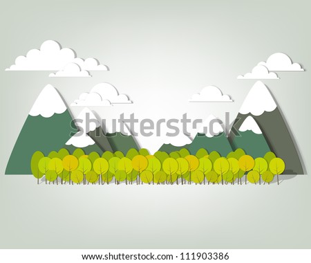 Mountain landscape. Vector applique - stock vector
