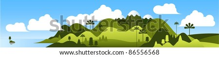Mountain landscape vector banner.