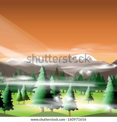 Mountain landscape, vector illustration, eps10, 5 layers, easy editable