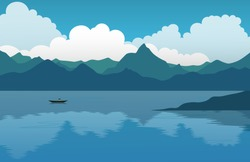 Mountain landscape. View with mountain, lake and boat. Vector illustration background for poster, banner, web, social media, card, cover, ui.