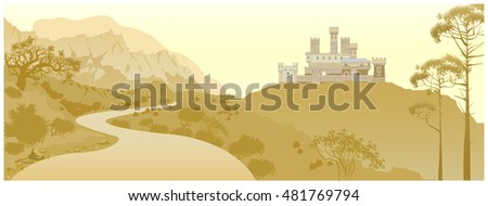 mountain landscape with ancient