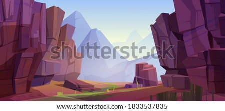 Mountain landscape with canyon, red dry ground and green grass on old riverbed. Vector cartoon illustration of nature park with gorge, stone cliffs and rocks. Grand canyon national park