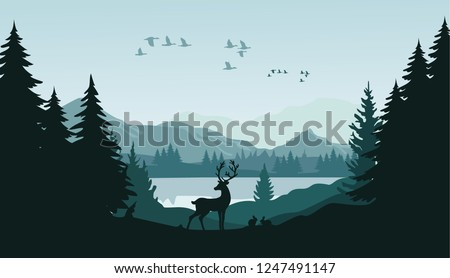 mountain landscape with deer in