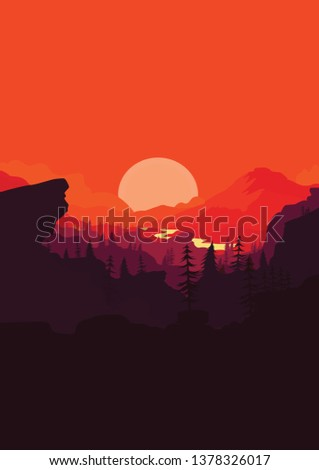 mountain landscape with forest