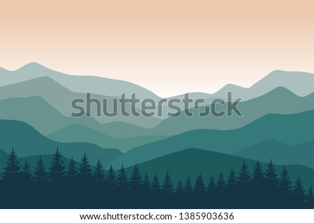 Mountain landscape with green silhouettes of forest trees mountains and hills. Sunrise. Panoramic mountain view. Vector illustration.