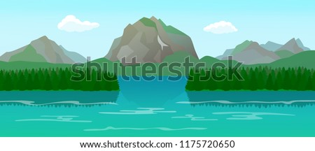 Mountain landscape with lake and islands, forest pond with spruce trees