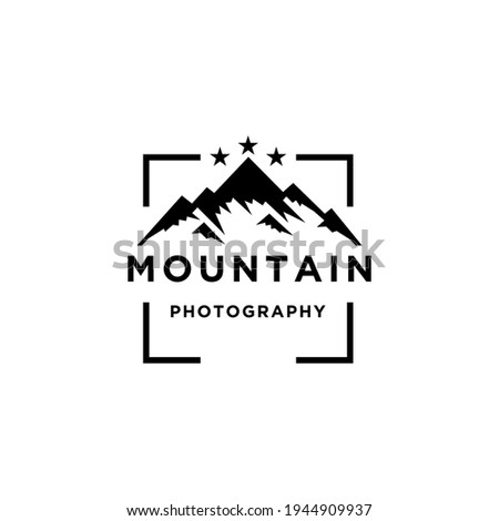 Mountain Landscape with Lens Frame and Star for Adventure Outdoor Nature Photography Photographer Logo Design