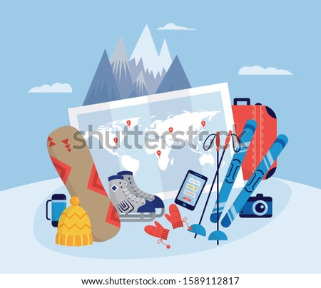 Mountain landscape with winter sports and active recreation various equipment, flat vector illustration. Background for ski resorts and winter traveling banners.