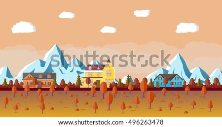 mountain landscape with wooden