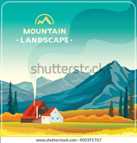 mountain landscape with yellow