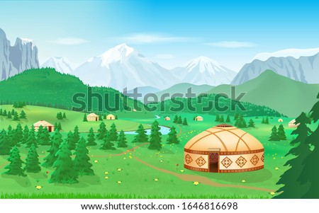 mountain landscape with yurts