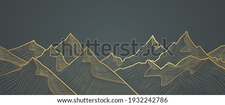 Mountain line art background, luxury gold wallpaper design for cover, invitation background, packaging design, wall art and print. Vector illustration.