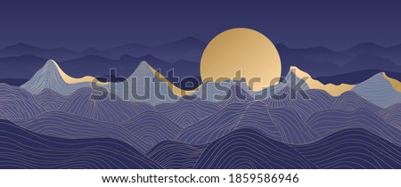mountain line arts background
