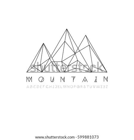 mountain line icon  outline